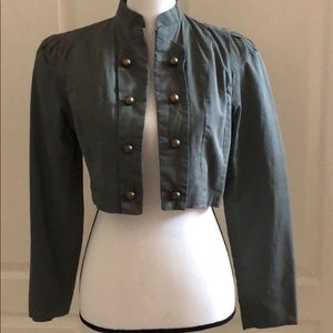 🍁Sage Green Cropped Jacket with Bronze Buttons